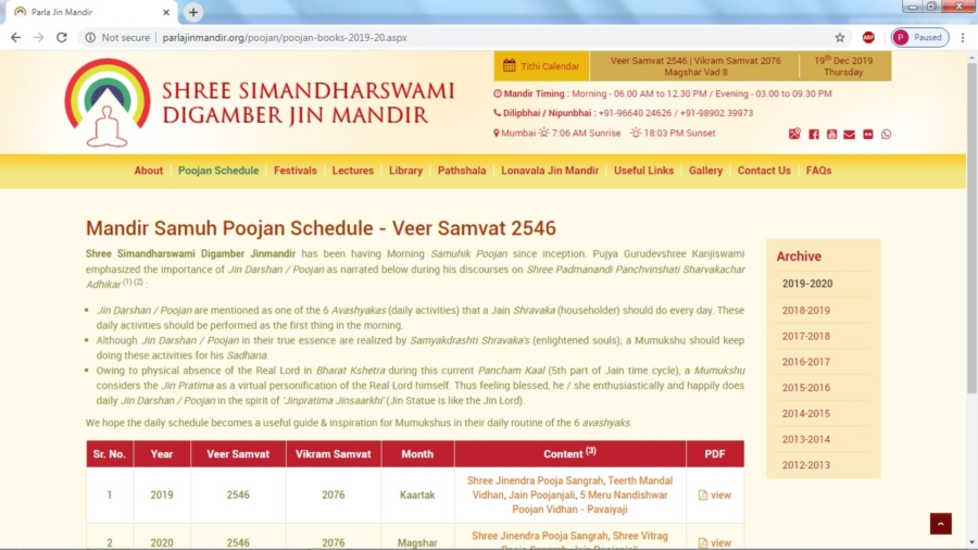Poojan Schedule Section Inaugurated (Magshar Vad 8)